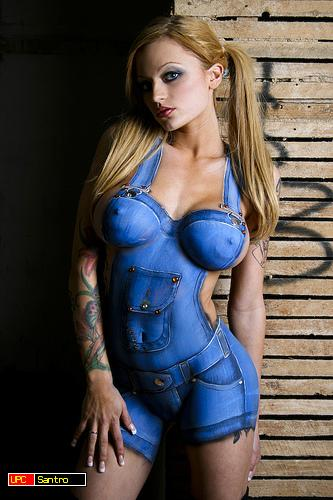Painted naked sexy clothes